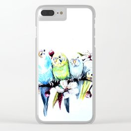 Bloomin' Budgies Clear iPhone Case