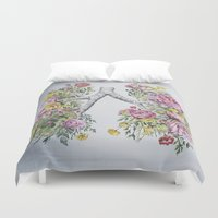 lungs Duvet Covers featuring Floral Anatomy Lungs by Trisha Thompson Adams