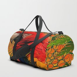 RED JUNGLE MACAW PATTERN ABSTRACT Duffle Bag