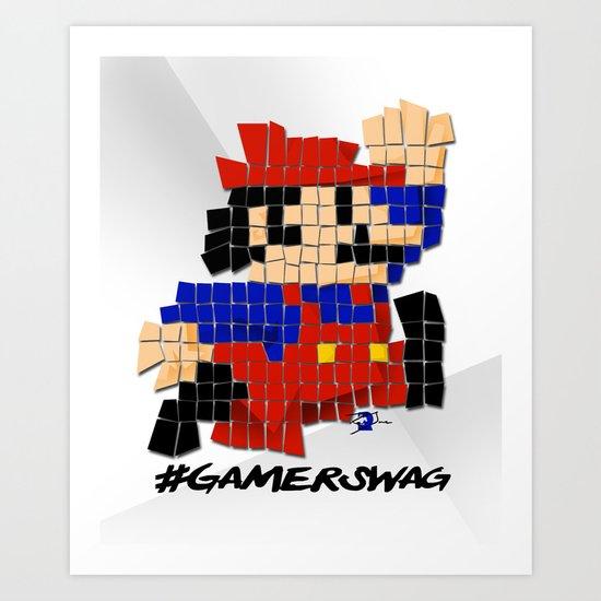 Pixel Mario Art Print