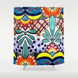 Colorful Talavera, Yellow Accent, Large, Mexican Tile Design Shower Curtain