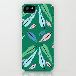 feathers on green iPhone Case