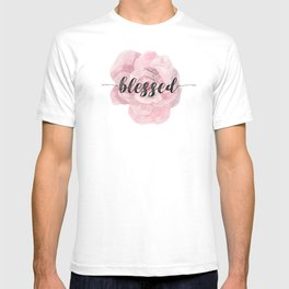Christian Watercolor Typography Text Quote - Blessed T-shirt