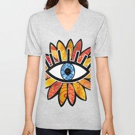 Greek Evil Eye Peach Flower Unisex V-Neck