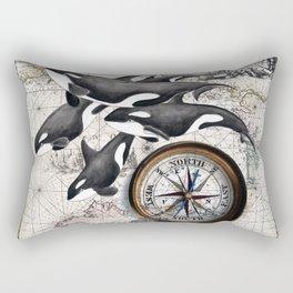 Orca Pod Vintage Map Rectangular Pillow