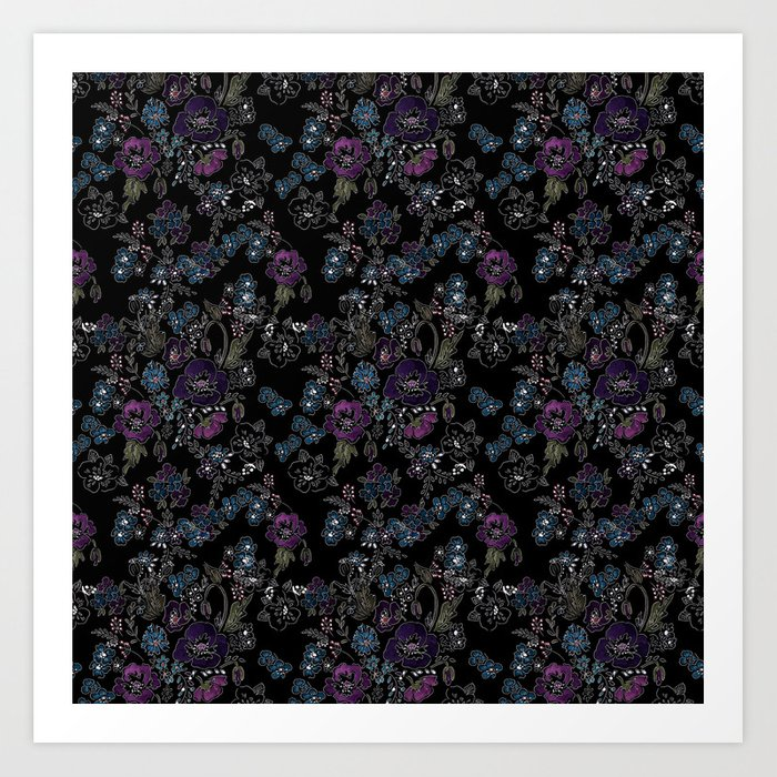 Floral pattern on a black background . Blue and purple flowers . Art Print
