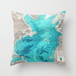 Vintage Blue Transatlantic Mapping Throw Pillow