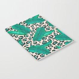 Trendy Tropical Banana Leaf Leopard Print Notebook