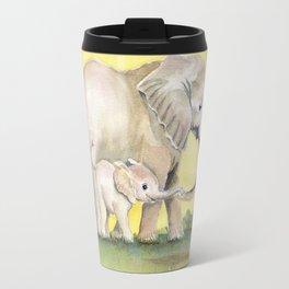 Colorful Mom and Baby Elephant 2 Travel Mug