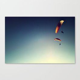 two paragliders from above Canvas Print