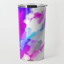 psychedelic painting texture abstract in pink purple blue yellow and white Travel Mug
