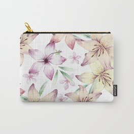 Lilium & Hibiscus pattern Carry-All Pouch