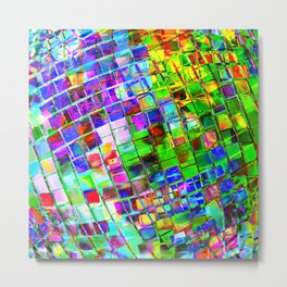 Psychedelic Planet Disco Ball Metal Print