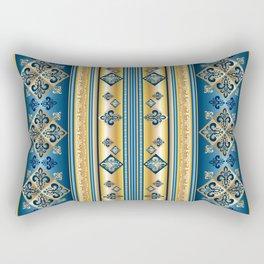 Blue and Gold Fleur de Lis Pattern Rectangular Pillow