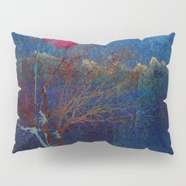 Abstract watercolor landscape with tree Pillow Sham