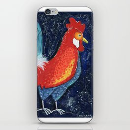 Colorful Rooster Art on Dark Blue Background by Kimberly Schulz iPhone Skin