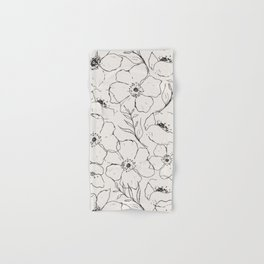 Floral Simplicity - Neutral Black Hand & Bath Towel