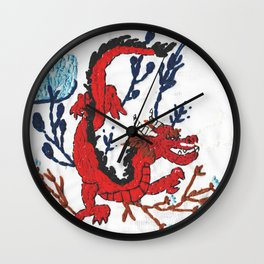 RED DRAGON embroidery Wall Clock