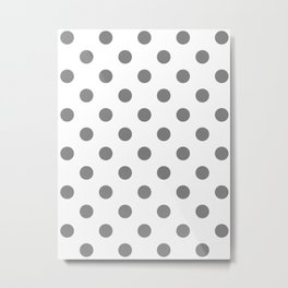 Polka Dots - Gray on White Metal Print