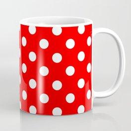 Polka Dots (White & Classic Red Pattern) Coffee Mug