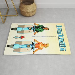 Vintage Lambretta Motor Scooter 'Security' Advertisement Poster Rug