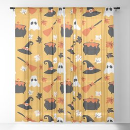 Happy halloween pots, ghosts and brooms Sheer Curtain