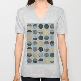 Marble and gold circles pattern III Unisex V-Neck