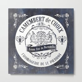 Indigo Vintage Cheese Label 1 Metal Print