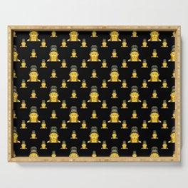 Buddhist Motif Print Pattern Serving Tray