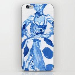 1792 a la campgne -blue ink fashion illustration iPhone Skin
