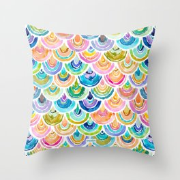 STRANGEBOW Rainbow Mermaid Scallop Throw Pillow