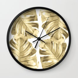 Gold Monstera Leaves on White Wall Clock