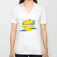 the whale V-neck T-shirts featuring WHALE by mark ashkenazi