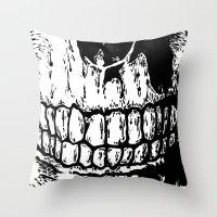teeth Throw Pillows featuring Teeth by Mike Hague Prints