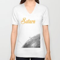 saturn V-neck T-shirts featuring Saturn by annaowe