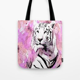 TIGER WHITE WITH CHERRY BLOSSOMS PINK Tote Bag