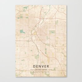 Denver, United States - Vintage Map Canvas Print