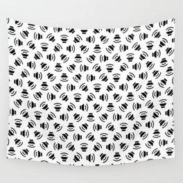 Music On (black on white version) Wall Tapestry