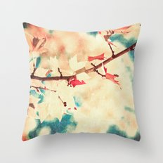 Autumn (Leafs in a textured and abstract sky) Throw Pillow