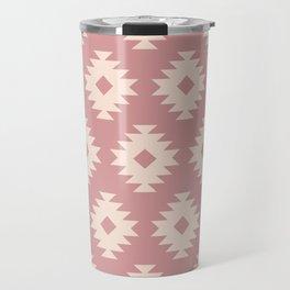 Southwestern Pattern 440 Dusty Rose and Beige Travel Mug