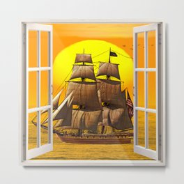 American Frigate Sailing Against a Sunset Metal Print