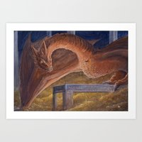smaug Art Prints featuring Smaug by Penny-Dragon