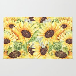 Watercolor Yellow Sunflowers and Greenery Rug