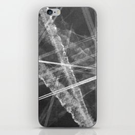 Jet vapour trails in a dark sky iPhone Skin