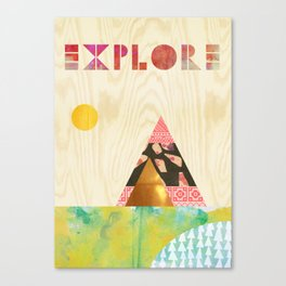 Explore Collage on wooden Background Canvas Print