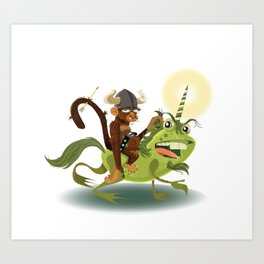 Monkey Warrior on a Unicorn Toad Art Print