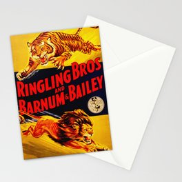 Vintage Circus Poster - Tiger & Lion Stationery Cards