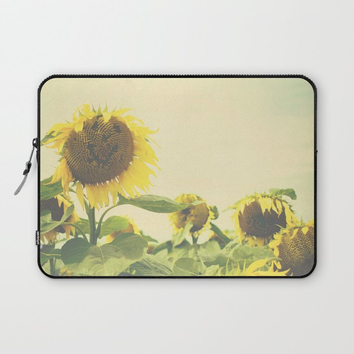 Sunflower flower photography, yellow, green, cream, nature, sunny smiles. Laptop Sleeve