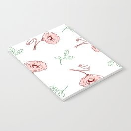 seamless pattern of beautiful poppy flowers and green twigs Notebook