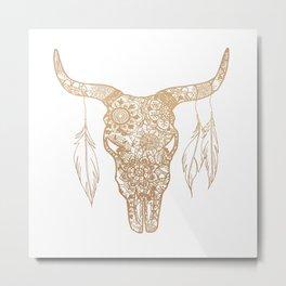 Gold Bull Skull Mandala Pattern Metal Print